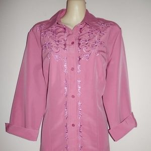 Anthony Richards Womens Top 12 Mauve Embroidered
